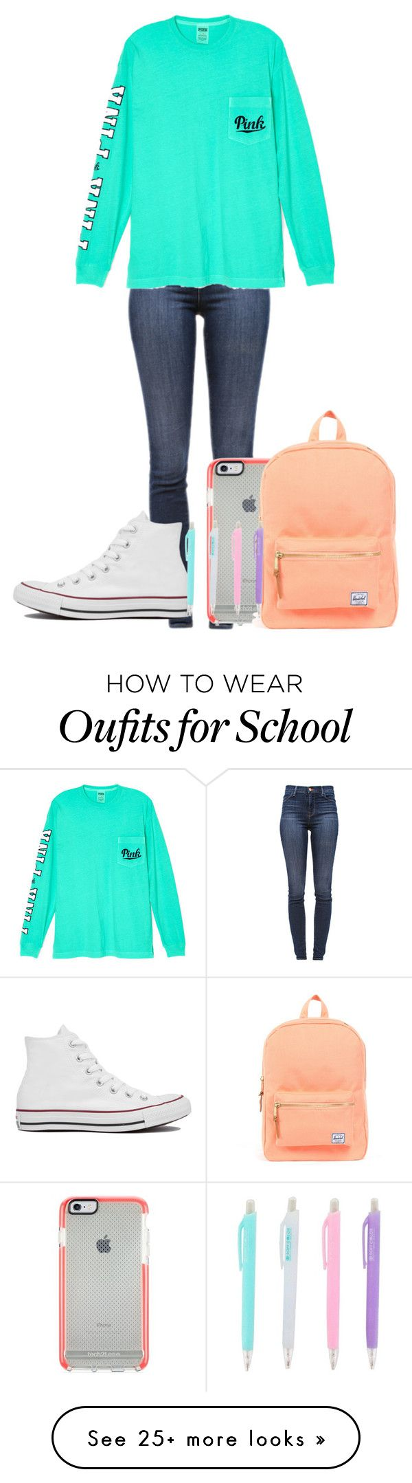 """""""School wear"""" by annabelle-vii on Polyvore featuring J Brand, Victoria's Secret, Herschel Supply Co. and Converse"""