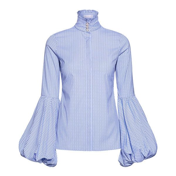 Caroline Constas - Jaqueline Ruffled High-neck Balloon Sleeve Striped... (645 BAM) ❤ liked on Polyvore featuring tops, blouses, shirt blouse, blue striped shirt, blue stripe shirt, blue ruffle blouse and ruffled shirts blouses