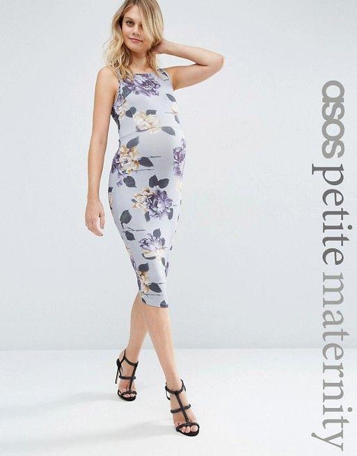 ASOS Maternity   ASOS Maternity PETITE – Mittellanges, figurbetontes Trägerkleid mit Blumenmuster