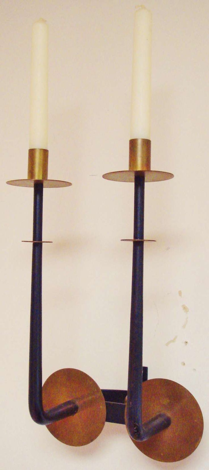 Pair of Large American Midcentury Candle Sconces in the Style of Tommi Parzinger | From a unique collection of antique and modern candleholders and candelabra at http://www.1stdibs.com/furniture/lighting/candleholders-candelabra/