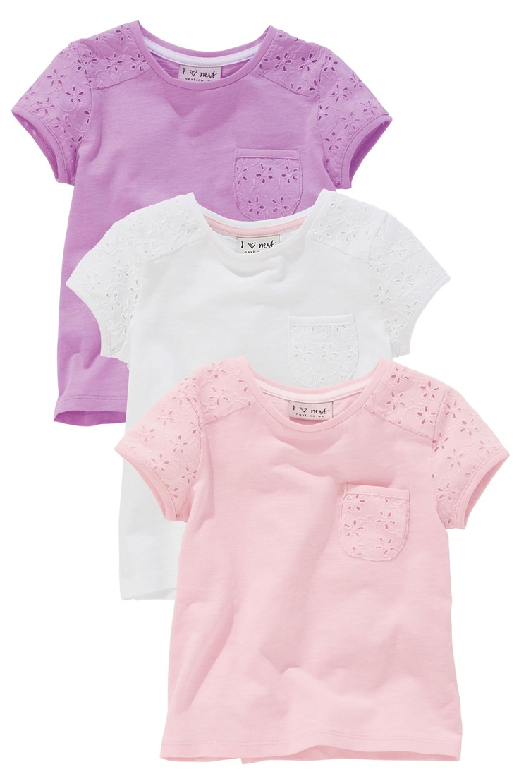 Buy Pink, White And Lilac Broderie Tops Three Pack (3mths-6yrs) from the Next UK online shop