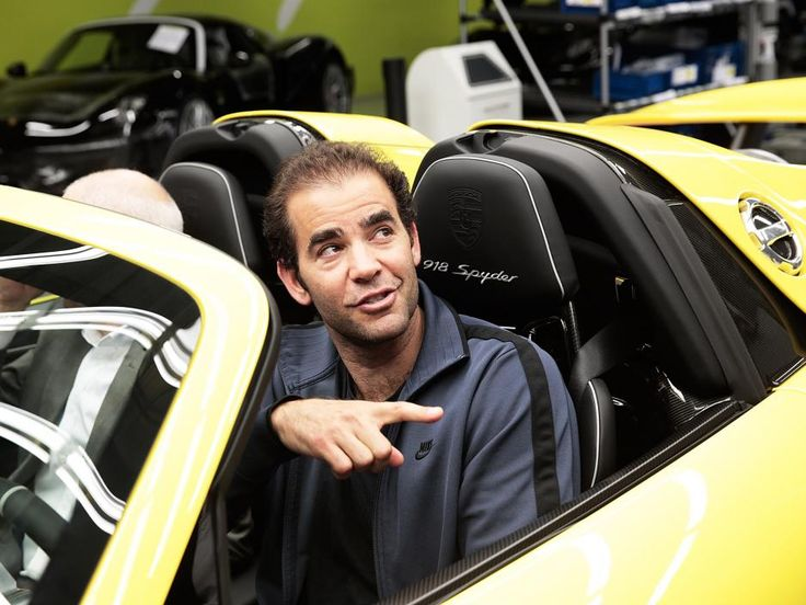 Tennis champion Pete Sampras in a Porsche