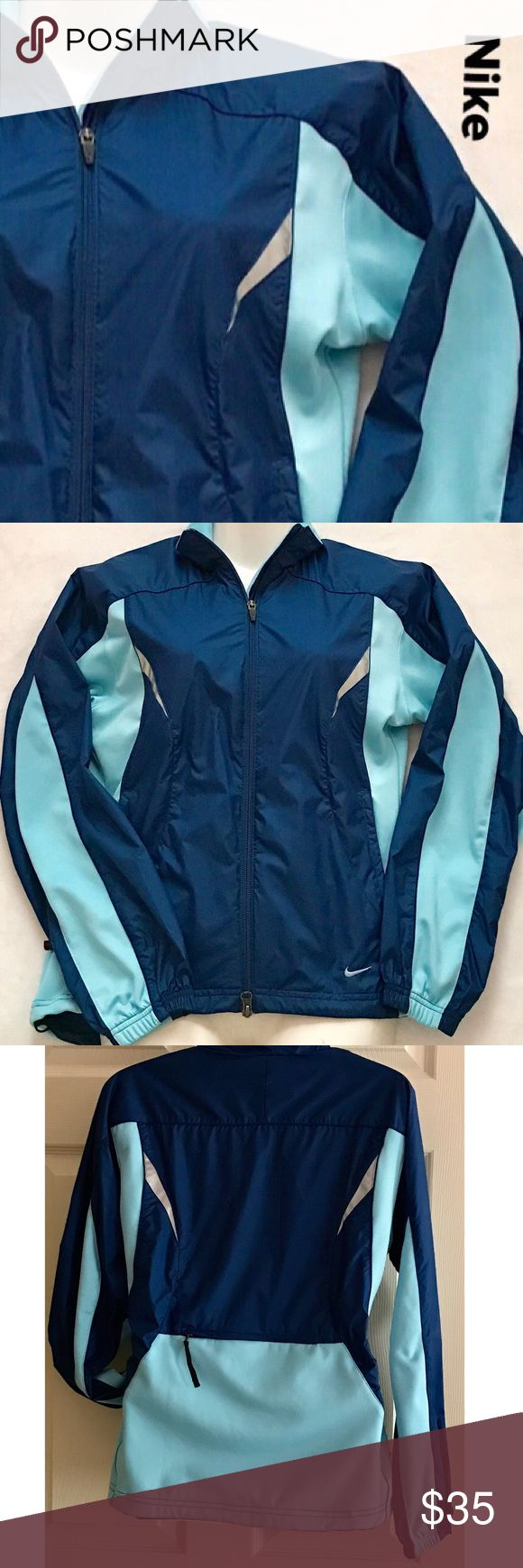 🎀NIKE WOMEN'S WINDBREAKER JACKET 🎀 The perfect Nike jacket for the spring. You cans wear it  to do your outdoor workout, will keep you warm and cozy or just to do errands. This light jacket will keep you in style. Featuring front zipper closure, two side pockets with zipper to secured your belongings. Also have a back pocket with a zipper too, perfect for small wallets, credit cards, keys. Nike Jackets & Coats Utility Jackets