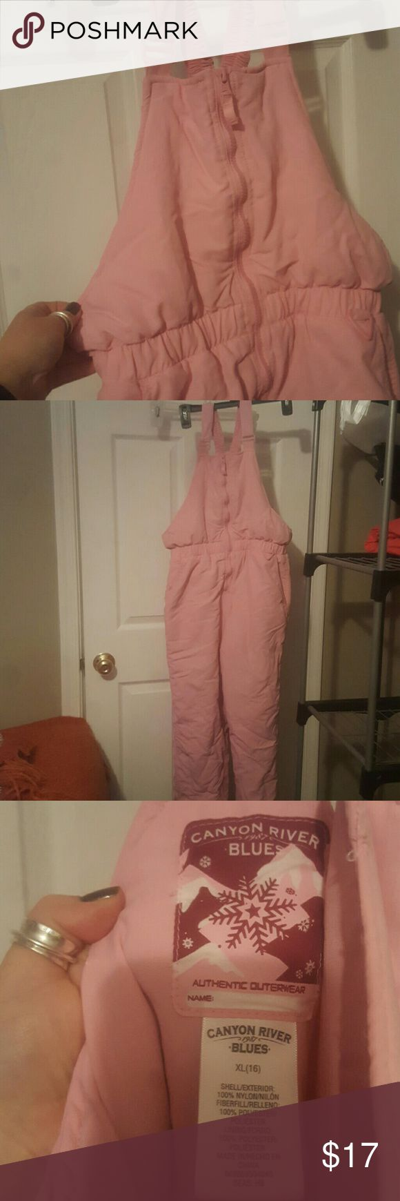 Canyon River Blues extra large girls snow pants Cute pink bib style snow pants size 16 extra large.  Very good condition.  Two pockets in the front, zipper closure at the chest. Gaiters at the bottom inside leg. Straps have Velcro adjustment at the top. Canyon River Blues Other