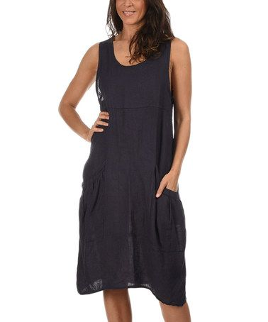 Couleur lin navy blue olivia linen dress olivia d 39 abo navy blue and navy for Couleur lin clothing