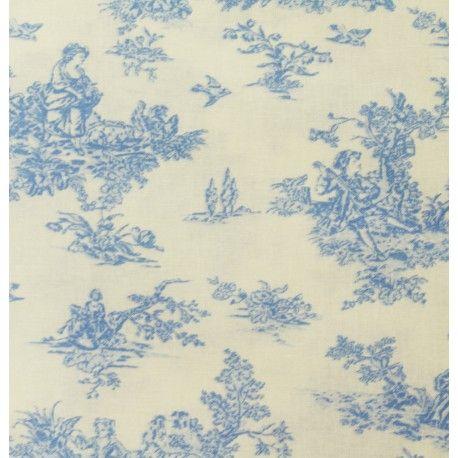 Tissu 100 coton motif toile de jouy bleu clair vendu en coupon de 3 m tres tissus pinterest - Toile de coton synonyme ...