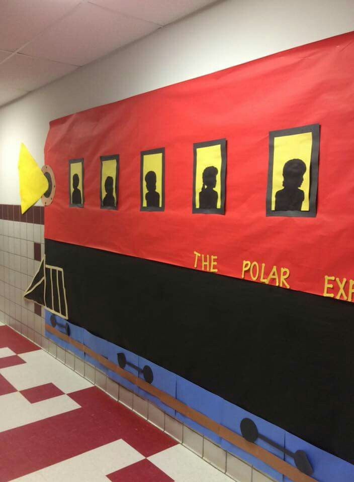 Hallway Decorated For Polar Express Party