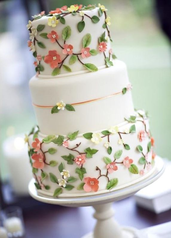 Pretty Little Dusty Rose Flowers Tiered Cake #wedding #cakes