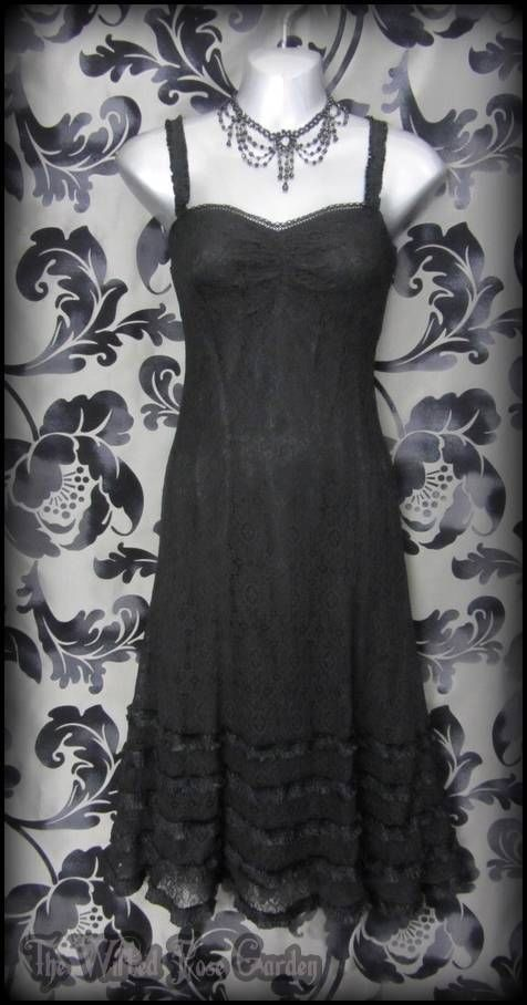 Gothic Black Lace Tiered Frill Summer Dress 6 Romantic Goth Witchy Vintage Boho   THE WILTED ROSE GARDEN