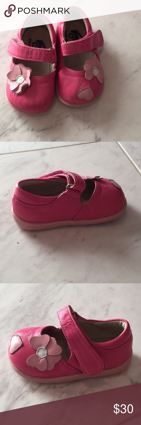 All leather pink Mary Jane shoes size 4 like new All hot pink leather upper and leather lines with light pink leather appliqué 3D flowers. Good rubber soles for new walkers and barely worn a time or two. See Kai Run Shoes Baby & Walker