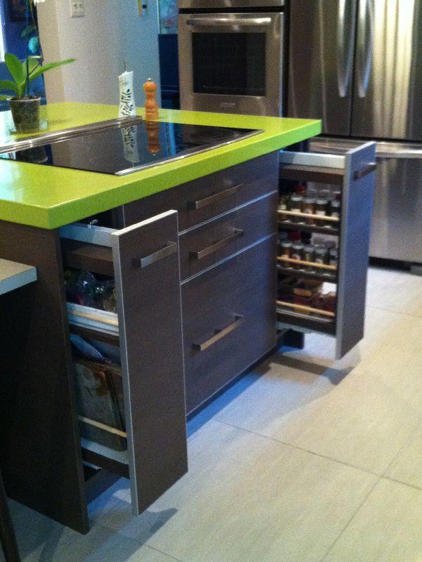 L'ilot de cuisine est utilisé pour rendre la superficie plus fonctionnelle en autant que l'espace le permette.