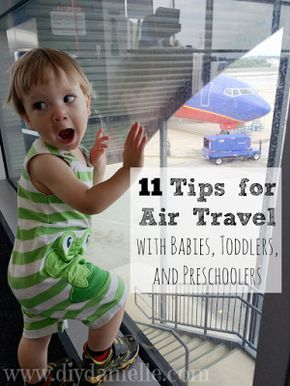 Tips and tricks for traveling on an airplane with a baby, toddler, or preschooler. Flights don't need to be difficult and this post will discuss ways to keep your child happy and entertained on the plane. Be prepared for your trip with these great ideas. #travel #parenting