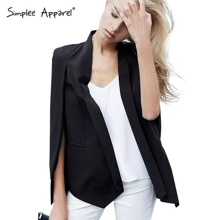 1 732,50 руб Simplee Одежда Мода мыс пончо стиль куртка пальто осень Элегантный отложным воротником пальто женщин Классический карманные черный пиджаки купить на AliExpress