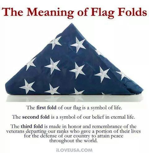 The meaning of our flag. White = Peace, Red = Bloodshed, Blue = Glory. A flag is always folded to the Glory. The folds: liberty, unity, justice, perseverance, hardiness, valor, purity, innocence, sacrifice, honor, independence and finally truth.   And with some luck and a prayer, and Donald Trump becoming our next President, those good words will start to mean something again.