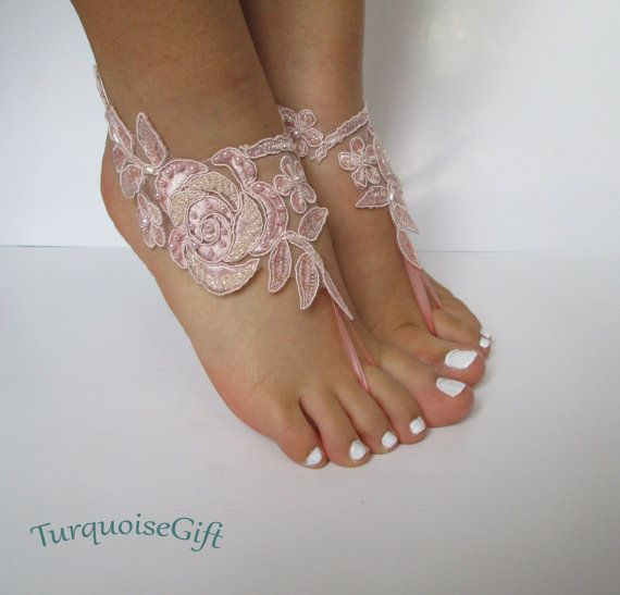 Free shippingBeach wedding barefoot sandals by TurquoiseGift