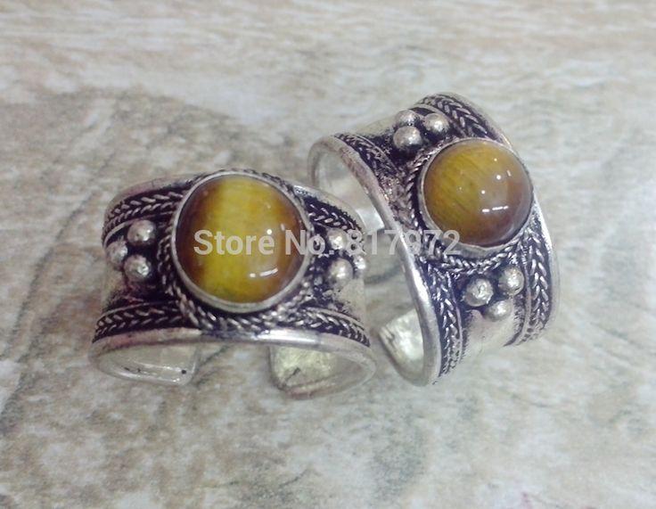 10 шт. ретро стиль тибет серебро резные кружевной декор желтый опал камень кольцо регулируемый как для женщин и мужчин
