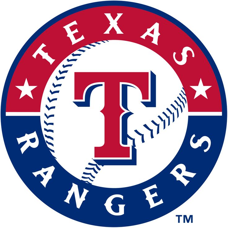 Texas Rangers Primary Logo (2003) - Red T on a baseball in red and blue ring with team name