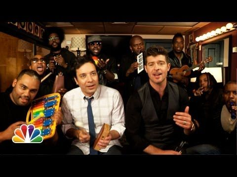 """Jimmy Fallon, Robin Thicke, and The Roots Perform 'Blurred Lines' on Classroom Instruments""   [It WILL make you happy. I want to get out all my fruit shakers and ukulele now.]"