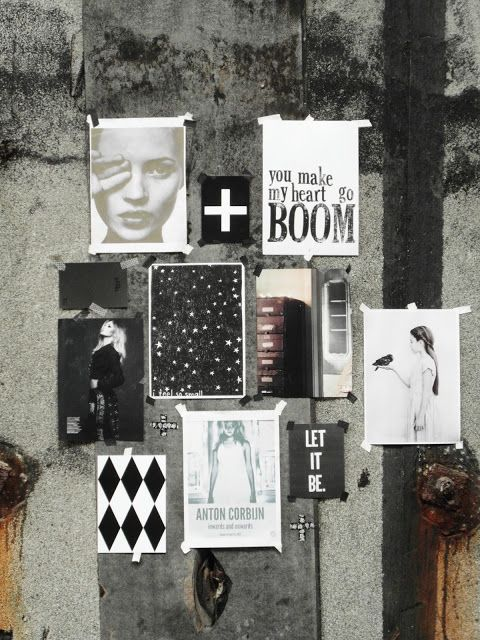 Fashion Moodboard layout inspiration - stylish monochromatic images against a grunge background