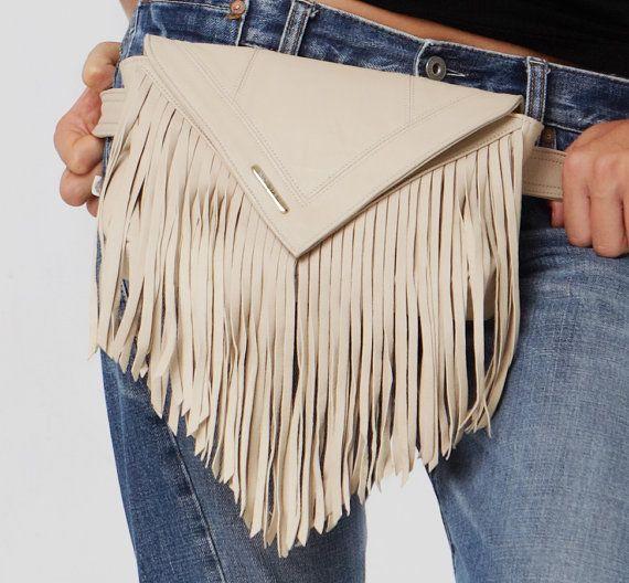 Cream Fringed Leather Belt Bag/ Bum Bag/ Fanny Pack/ Festival Bag on Etsy, $199.00