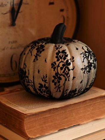 Halloween pumpkin ideas: Holiday, Black Lace, Ideas, Craft, Lace Pumpkin, Halloween Pumpkin, Pumpkins, White Pumpkin