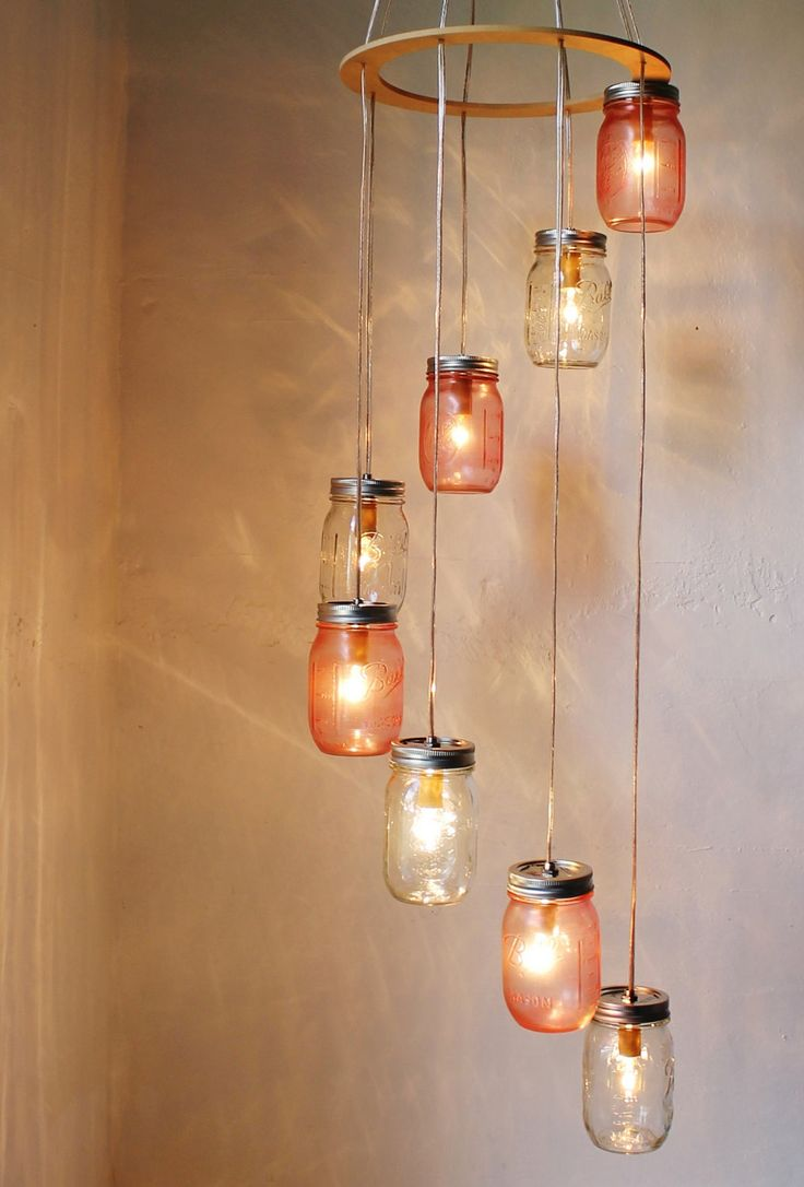 29 best diy chandelier images on pinterest chandelier lighting pretty in pink mason jar chandelier hanging light by bootsngus arubaitofo Choice Image