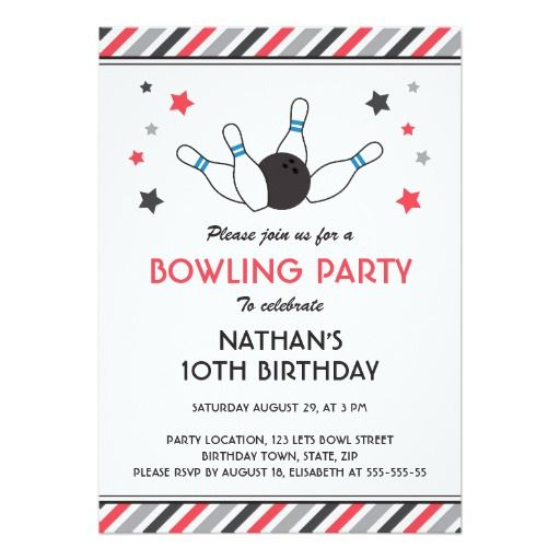 1381 best bowling birthday ideas images on pinterest anniversary retro gray red stripe stars bowling birthday party invitation stopboris Gallery