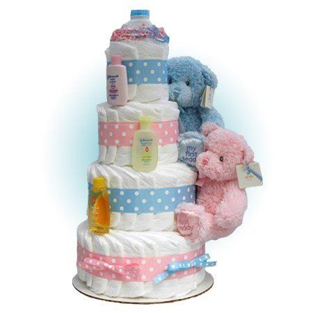 Pink  and Blue Diaper Cake, Twin Diaper Cake, Triplet Diaper Cake, Twin baby shower centerpiece, Gender Neutral Twin Diaper Cake, Twin Gift by CSMDiaperCakes on Etsy https://www.etsy.com/listing/182492176/pink-and-blue-diaper-cake-twin-diaper