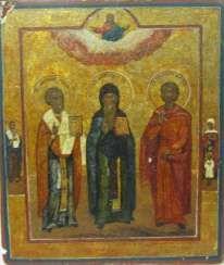 Der Heilige Antonij Petscherski mit den bevorstehenden Nikolaus der Wundertäter und dem Heiligen Stephanus (Stephan)
