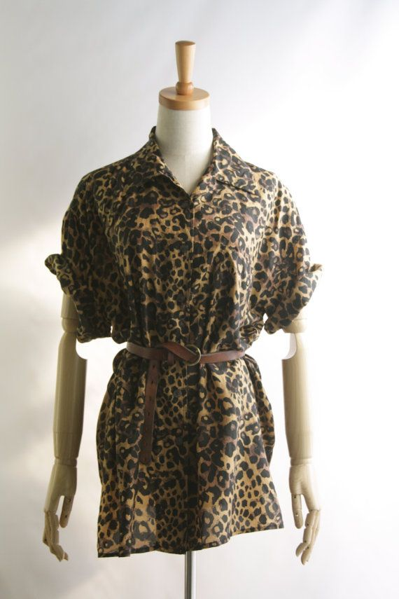 Oversized silk leopard print shirt. Animal by SwanDiveVintage, $45.00