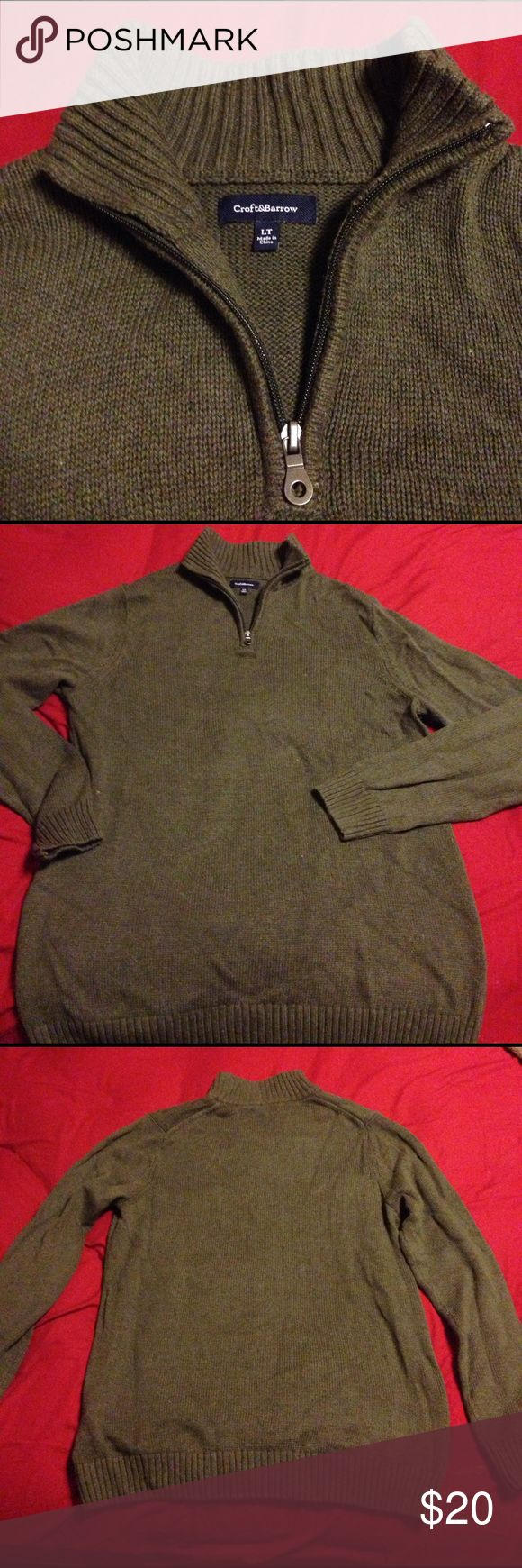 Croft&Barrow Olive green formal/ casual sweater Only worn once , Size large, Olive green sweater with 1/2 neck zipper. Can be worn for a formal event or a casual holiday croft & barrow Sweaters Zip Up