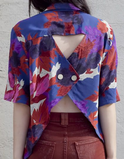 Vintage floral 80s buttonup: Fashion, Style, Criss Crosses, Old Shirts, Open Back Shirts, Diy Shirts, Cut Outs, Buttonback Shirts, Back Details