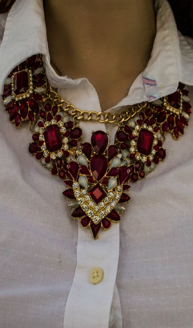 beautiful statement necklace-from WALMART! http://www.aswestumblealong.com/2015/02/stylentines-day.html