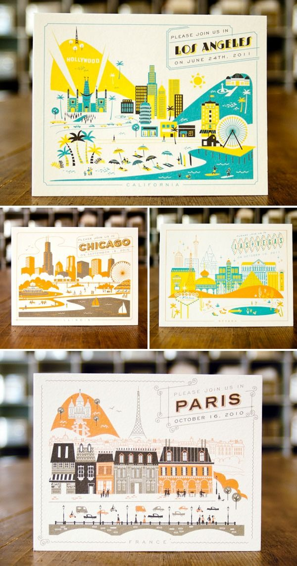 Bright and colourful illustrative cityscape postcards! Fun and interesting to look at!