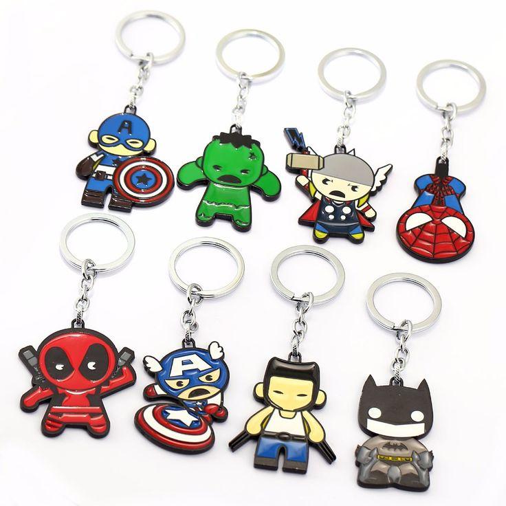 HSIC 8pcs/sets Cartoon Keychain Thor Captain America Hulk SpiderMan Deadpool Man Key Ring Holder Chaveiro Car Key Chain. Yesterday's price: US $17.28 (14.29 EUR). Today's price: US $15.21 (12.59 EUR). Discount: 12%.