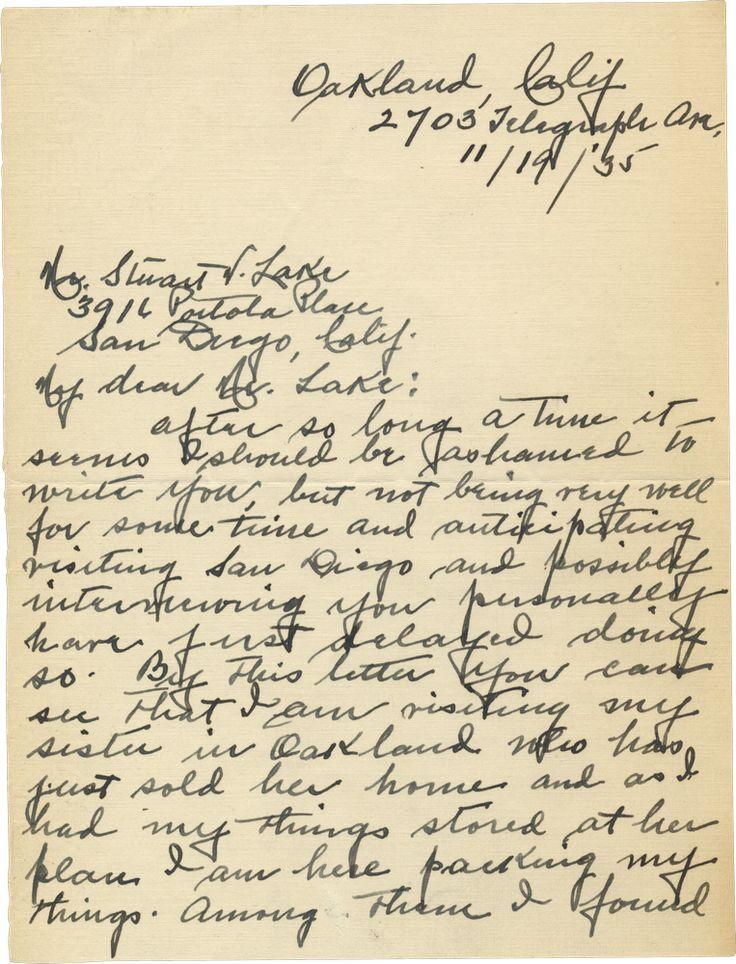 "Josephine ""Josie"" Earp, Wyatt Earp's Widow, Writes to Stuart Lake | Shapell Manuscript Foundation"