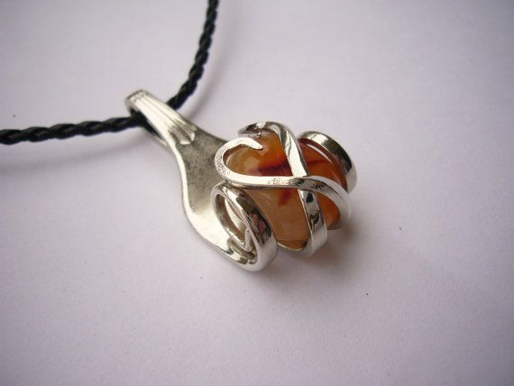fork pendant with caramel Brazilian agate by DoItYourselfPeru - Stylehive