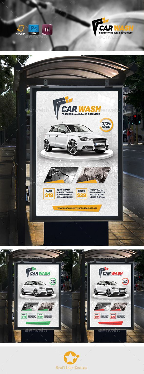 Car Wash Banner Template #design Download: http://graphicriver.net/item/car-wash-banner-templates/11678503?ref=ksioks