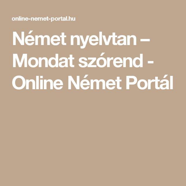 Német nyelvtan – Mondat szórend - Online Német Portál