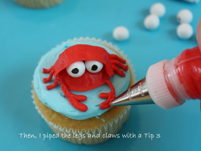 Beach Cupcakes-Tutorial on how to make a darling crab cupcake