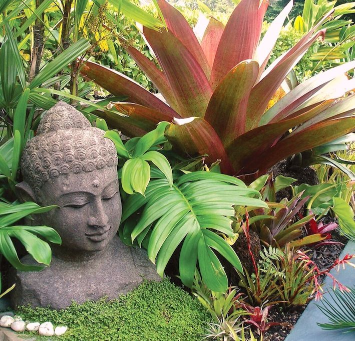Balinese Style Plants and Statues. Look at ground cover also
