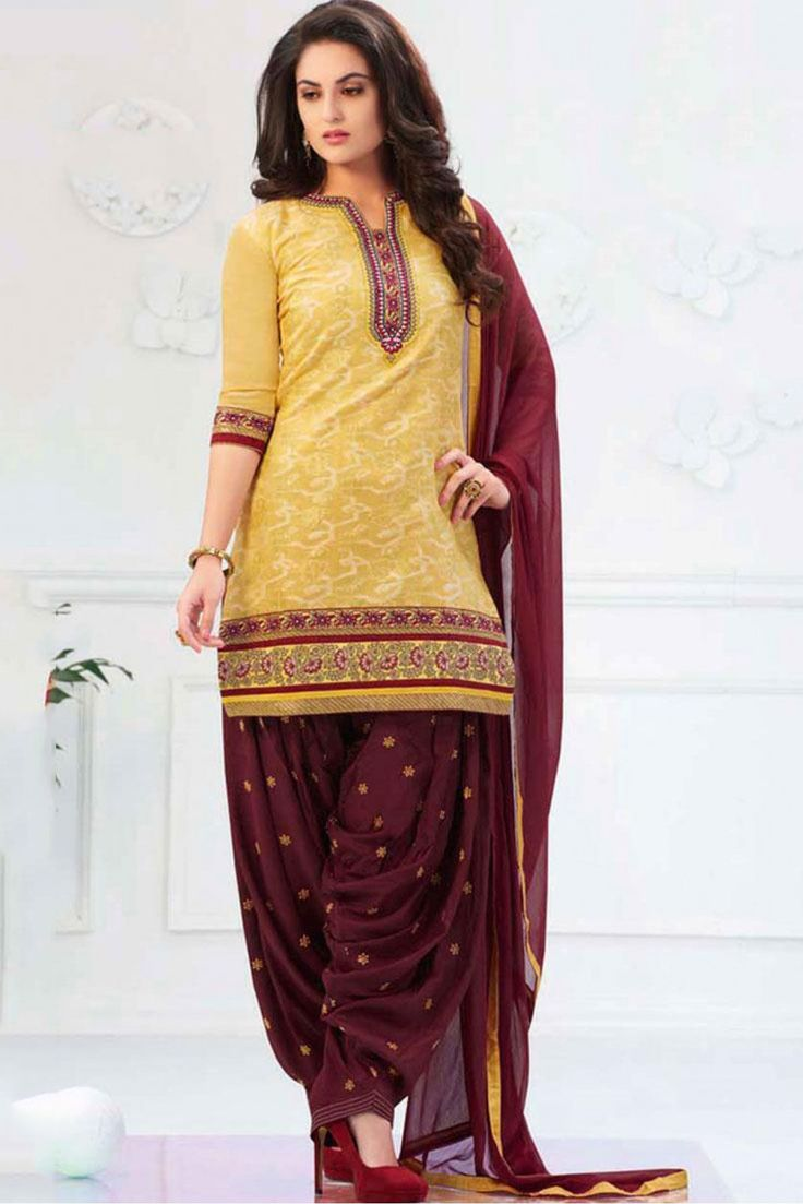 Yellow and Brown Colour Banarasi Jacquard Fabric Designer Unstitched Patiala Salwar Kameez Comes With Matching Dupatta and Bottom Fabric. This Suit Is Crafted With Embroidery Work. This Suit Comes as ...