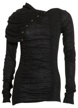 Black sheer top with button accents