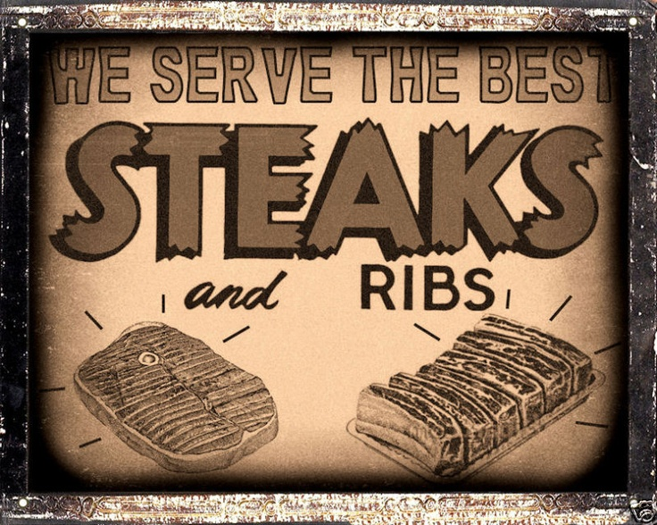 BUTCHER STEAK RIBS HOUSE SIGN BBQ barbecue VINTAGE retro KITCHEN wall decor art | eBay