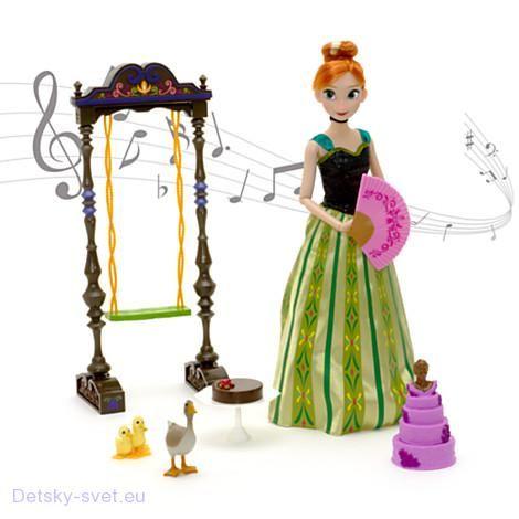 Zpívající panenka Anna - Ledové království 30 cm   Zpívající panenka Anna s doplňky Anna z disney pohádky Ledové království Realistický účes - drdol