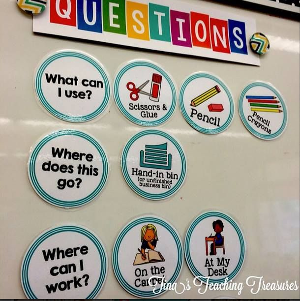 "The Question Board Free Classroom Management Tool This item is designed to help students become more independent classroom workers. Students are encouraged to check the ""question board"" before approaching the teacher."