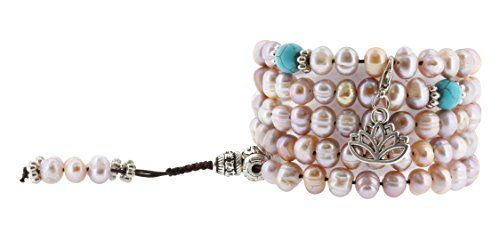 Pink and Purple Dyed Freshwater Cultured Pearls Yoga Meditation 108 Prayer Beads Mala Wrap Bracelet or Necklace (Lotus Flower). Wrap Bracelet or Necklace Made from Pink and Purple Dyed Freshwater Cultured Pearls and Accent Beads; Guru Beads Made from Brass; Dividing Beads Made from Imitation Turquoise and Gold Colored Accent Beads; Free Mandala Crafts Gift Bag;. Length: 24 Inches (Before Stretching); Please make sure the length fits your wrist to be used as a wrap bracelet; Elastic String…