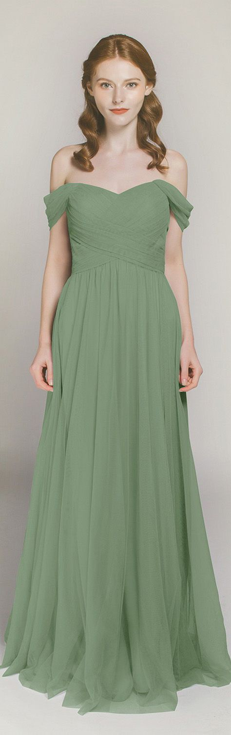 moss green off the shoulder tulle bridesmaid dresses TBQP328