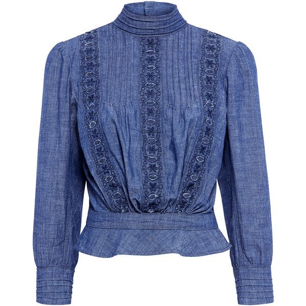Josie Cropped Chambray Blouse ($398) ❤ liked on Polyvore featuring tops, blouses, ruffle crop top, embroidered peasant blouse, blue ruffle blouse, chambray blouse and embroidered peasant top