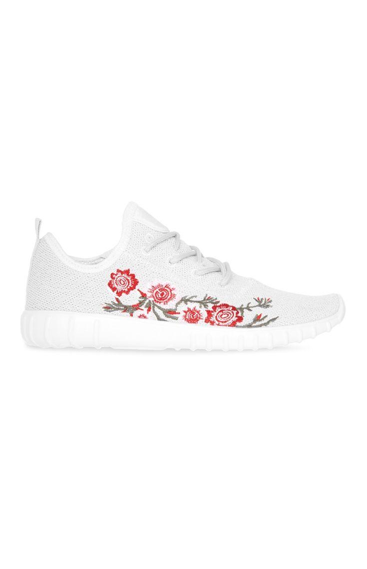 Primark - White Embroidered Trainer
